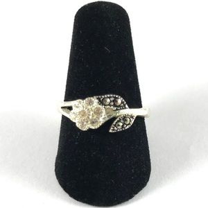 Sterling Silver 925 Marcasite Flower Ring Size 7.5